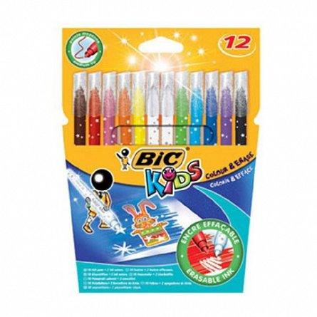 Markere pt copii,12b/s,Bic Colour&Erase