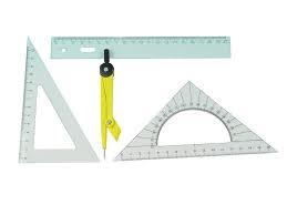 Set geometrie 20 cm cu compas plastic