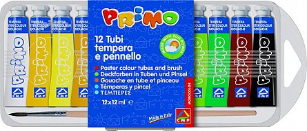 Tempera Primo,12ml/tub,12culori